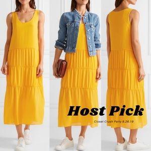 MAJE Midi Dress Color Pop Yellow Crepe Small 1